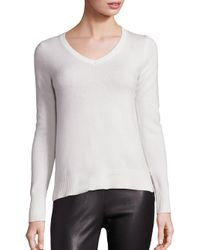 Saks Fifth Avenue | White Cashmere V-neck Sweater | Lyst
