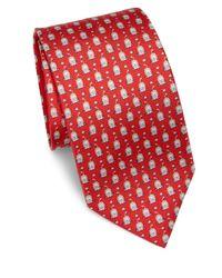Ferragamo | Red Lion Patterned Silk Tie for Men | Lyst