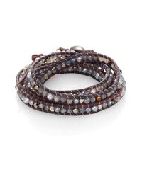 Chan Luu | Gray 4mm Grey Freshwater Pearl, Mystic Lab, Crystal & Leather Beaded Wrap Bracelet | Lyst