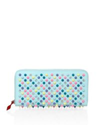 Christian Louboutin | Blue Panettone Spiked Leather Zip-around Wallet | Lyst