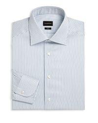 Ermenegildo Zegna - Blue Stripe Regular Fit Dress Shirt for Men - Lyst