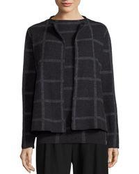 Eileen Fisher | Multicolor Merino Wool Windowpane Jacket | Lyst
