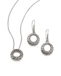 John Hardy | Metallic Classic Chain Sterling Silver Small Round Pendant Necklace & Drop Earrings Gift Box Set | Lyst