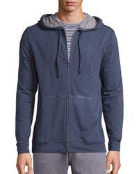 Saks Fifth Avenue   Blue Solid Zip-up Hoodie for Men   Lyst