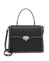 Valentino | Black Rockstud Leather Top-handle Satchel | Lyst