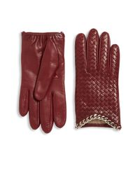 Portolano | Red Intrecciato-weave Leather Gloves | Lyst