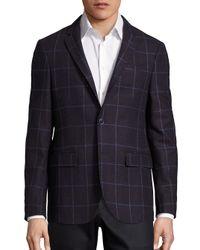 Sand - Blue Bordeau Window Pane Wool Jacket for Men - Lyst