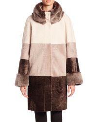 Saks Fifth Avenue | Brown Rabbit Fur & Shearling Colorblock Coat | Lyst
