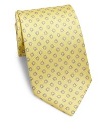 Ferragamo | Yellow Gancini Print Silk Tie for Men | Lyst