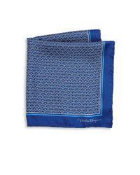 Ferragamo | Blue Ganci Rope Pattern Silk Pocket Square for Men | Lyst