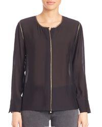 Elizabeth and James | Black Davidson Long Sleeve Silk Blend Blouse | Lyst