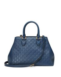 Gucci | Blue Gg Soft Leather Top-handle Bag | Lyst