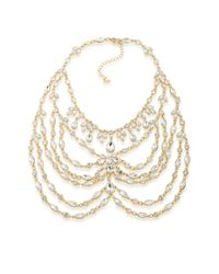 ABS By Allen Schwartz | Metallic Drama Bib Necklace, 16"