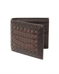 Bottega Veneta | Brown Ebanobianc Woven Leather Wallet for Men | Lyst