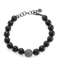 Nest | Black Horn & Crystal Beaded Necklace | Lyst