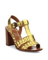 Bottega Veneta | Intrecciato Metallic Leather T-strap Sandals | Lyst