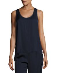 VINCE | Blue Raw Edge Trimmed Tank | Lyst