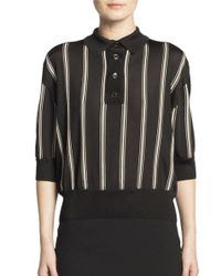 Lanvin - Black Striped Polo Shirt - Lyst