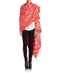Alexander McQueen | Red Blanket Lace Skull Wool Scarf | Lyst