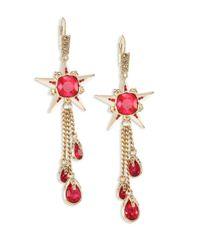 Alexander McQueen | Red Star Skull Crystal Drop Earrings | Lyst