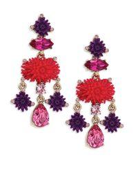 Oscar de la Renta   Multicolor Dahlia Resin & Crystal Clip-on Chandelier Earrings   Lyst