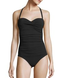 Heidi Klein | Black Oslo Ruched Bandeau Control One-piece Swimsuit | Lyst