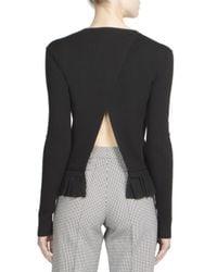 Nina Ricci - Black Stretch Knit Ruffle Top - Lyst