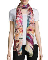 Bindya | Pink Gypsy-print Cashmere & Silk Scarf | Lyst