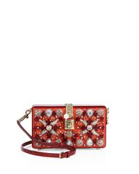 Dolce & Gabbana | Red Miss Dolce Crystal, Satin & Snakeskin Evening Clutch | Lyst