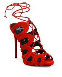 Giuseppe Zanotti | Red Cutout Suede Lace-up Sandals | Lyst