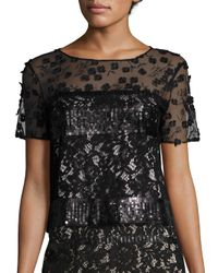 Elie Tahari | Black Jules Embroidered Sequin & Lace Blouse | Lyst