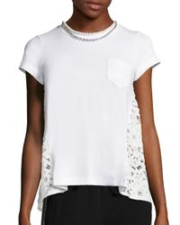 Sacai | White Pearl Lace-back Pocket Tee | Lyst