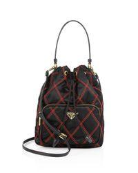 Prada | Black Tessuto Impunto Nylon Bucket Bag | Lyst