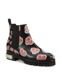 Alexander McQueen | Black Floral-print Leather Chelsea Booties | Lyst