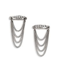 Marc Jacobs | Metallic Safety Pin Layered Chain Stud Earrings | Lyst