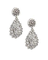 Oscar de la Renta | Metallic Classic Crystal Teardrop Clip-on Earrings | Lyst