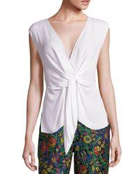 3.1 Phillip Lim | White Silk Sleeveless Tie-front Blouse | Lyst