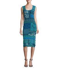 Fuzzi | Blue Mosaic Prints Lace Dress | Lyst