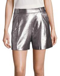 Halston - Gray Metallic Lamb Suede Shorts - Lyst