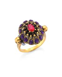 Alexander McQueen | Metallic Ruby & Crystal Cocktail Ring | Lyst