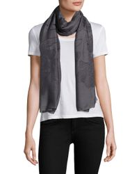 Armani | Gray Floral-embroidered Scarf | Lyst