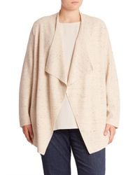 Eileen Fisher | Natural Plus Peppered Cascading Wool Blend Cardigan | Lyst