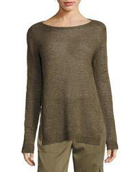 Polo Ralph Lauren | Green Linen Boatneck Sweater | Lyst