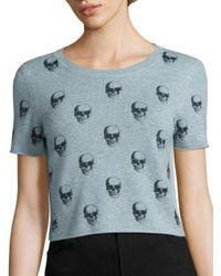 360cashmere | Blue Livia Skull-print Cropped Cashmere Sweater | Lyst