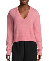 McQ | Pink Cashmere & Wool V-neck Sweater | Lyst