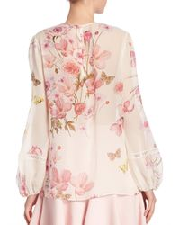 Giambattista Valli | Pink Floral Printed Silk Blouse | Lyst