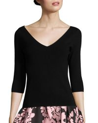 MILLY | Black Claire V-neck Top | Lyst