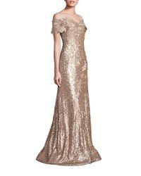 Rene Ruiz | Metallic Off-the-shoulder Sequin Lace Applique Gown | Lyst