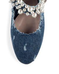 Miu Miu | Blue Pearly Denim Mary Jane Flat | Lyst