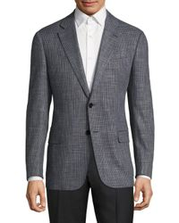 Armani | Gray Textured Virgin Wool Blend Jacket for Men | Lyst